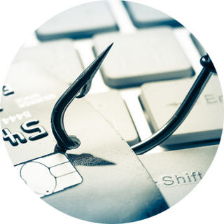 Fishing hook on credit card icon